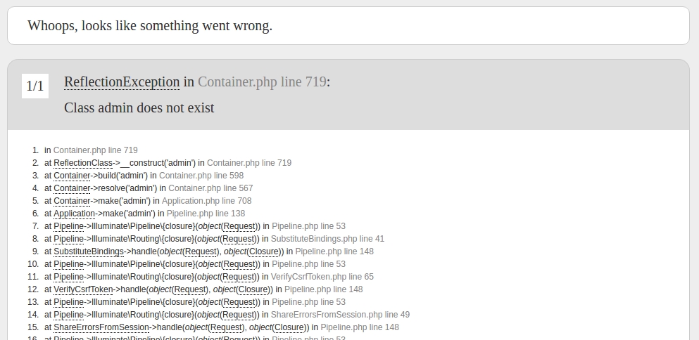 screenshot: laravel error