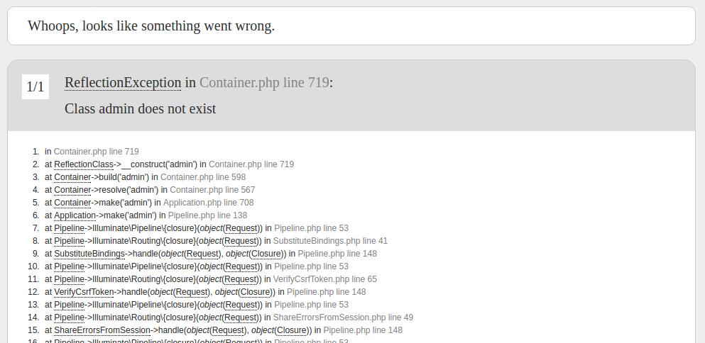 screenshot: laravel error